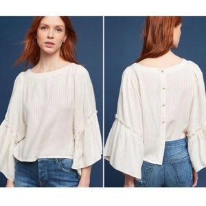 Anthropologie Cream & Gold Bell Sleeve Top